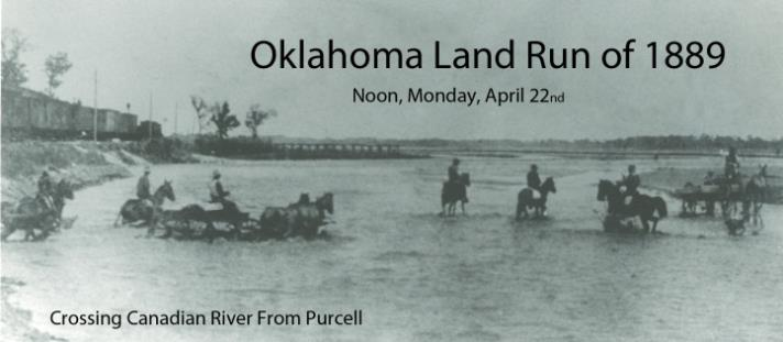 Oklahoma Land Run of 1889 - Crossing Canadian River from Purcell