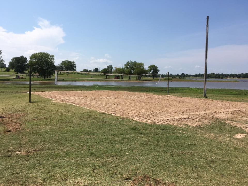 Sand volleyball court located at Purcell City Lake